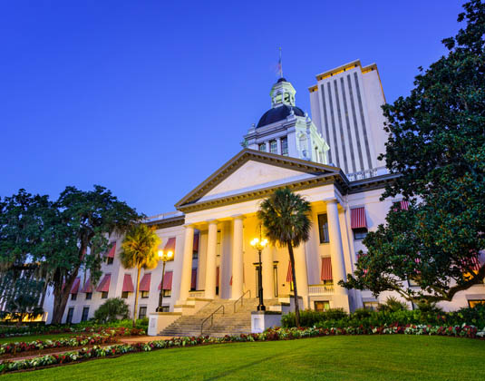 Tallahassee, Florida, USA at the Old and New Capitol Building