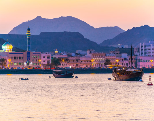 Muttrah district of Muscat during sunset