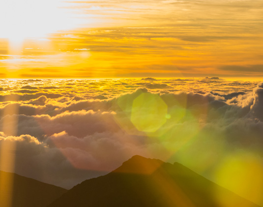 Early morning sun above Haleakala