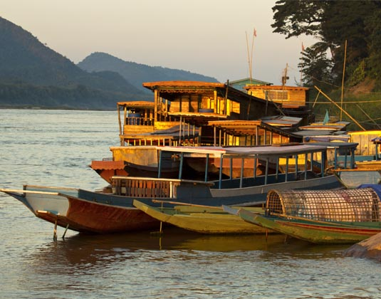 Mekong Boats anchored