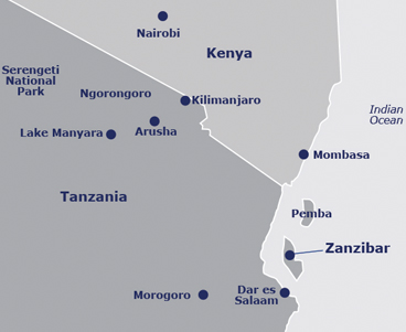 Map of Tanzania and Zanzibar