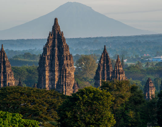 Prambanan temple With Mountain