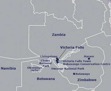 Map of Zimbabwe & Zambia
