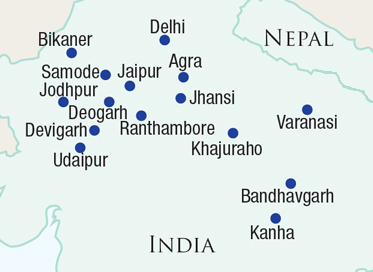 Map of Rajasthan, Varanasi & the North