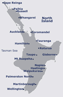 Map of North Island