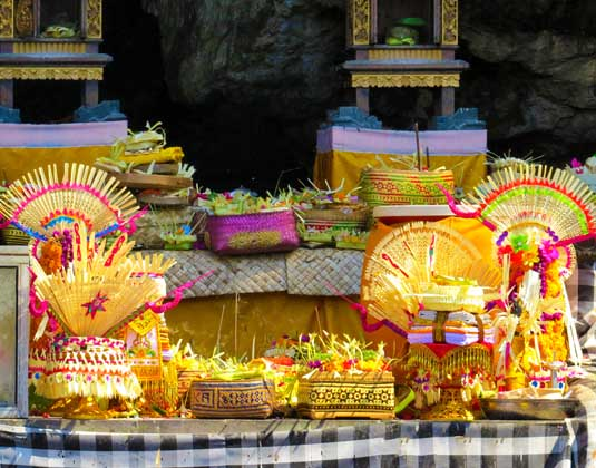 Offers in ceremony in Goa Lawah Temple in Bali
