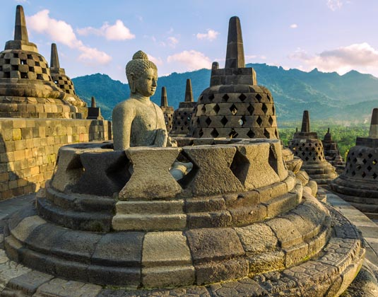 Buddist temple Borobudur at sunset