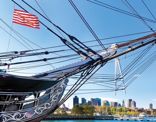 USS Constitution & Boston Skyline