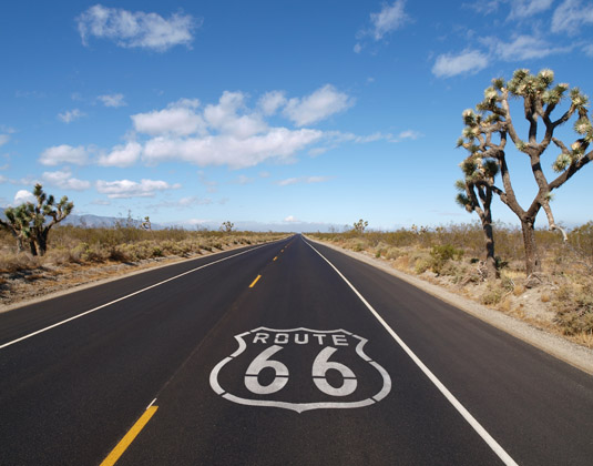 Route 66 crossing California's Mojave desert