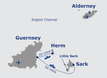 Map of Alderney, Sark & Herm