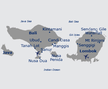 Map of Bali, Lombok & Java